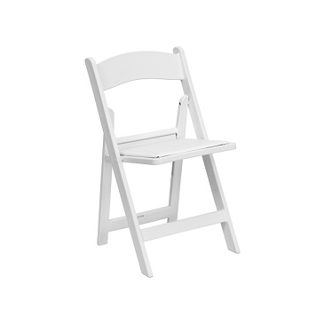 TBD White Vinyl Resin Folding Waterproof Chair With Detachable Padded Seat