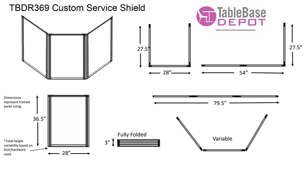 Deluxe TBDR369 Custom Social Distancing Service Shield Optional Window