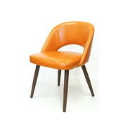 The Baltimore Chair Orange Vinyl With Wood Grain Metal Legs
