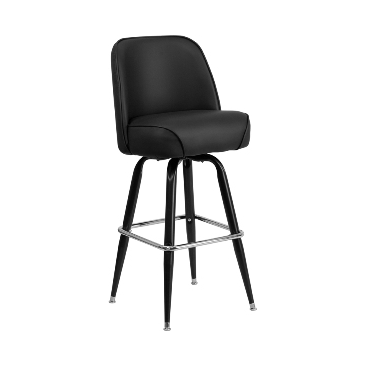 The Stay Awhile Black Bucket Steel Bar Stool