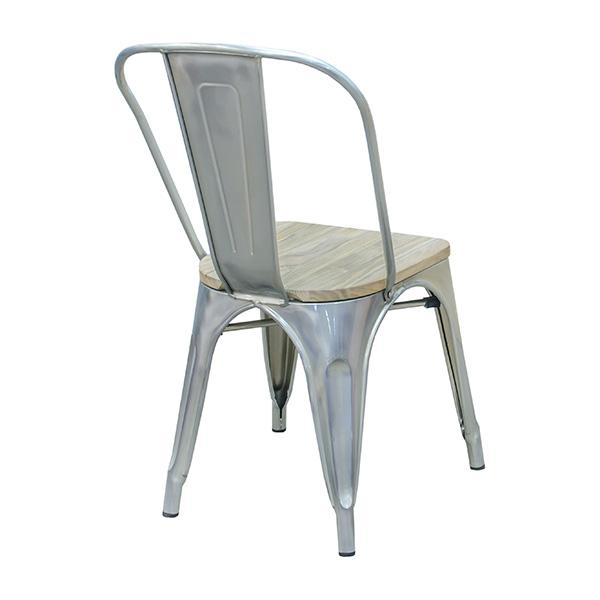 Light Gun Metal Tolix Chair Natural Finish Wood Seat