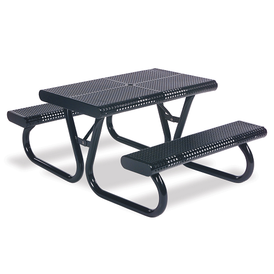 Urban Black Outdoor Circular Perforation Picnic Table with Attached Seats Luna Portable Collection