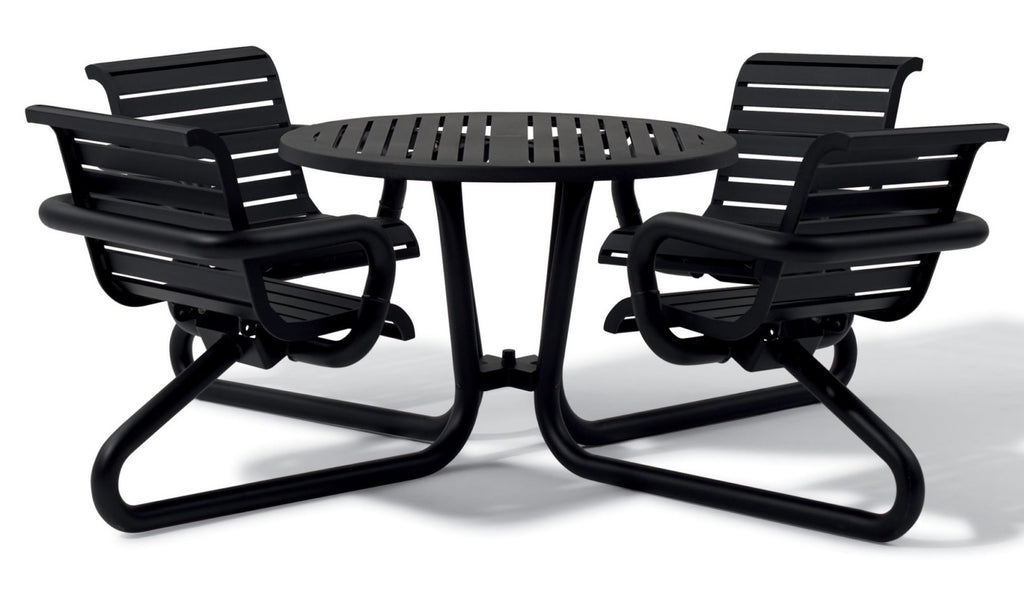 Urban Black Outdoor Slat Picnic Table Slat Top with Attached Seats Lewis Collection 42″ Diam