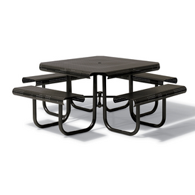 "Urban Black Outdoor Square Perforation Picnic Table with Attached Seats Bell Collection 46"" Square"