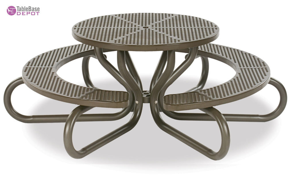 Urban Dark Bronze Outdoor Mesh Picnic Table Mesh Top with Attached Seats Expo Collection 42″ Diam