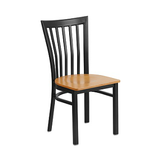 Valentina Black High Back Side Chair Natural Wood Seat