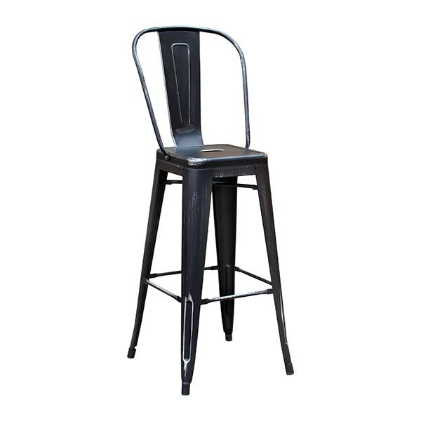 Black Weathered High Back Tolix Bar Stool