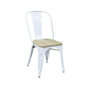 White Tolix Chair Natural Wood Seat