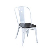 White Tolix Chair Onyx Finish Wood Seat