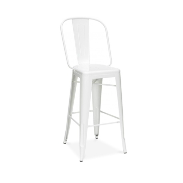 Classic Solid White High Back Tolix Bar Stool