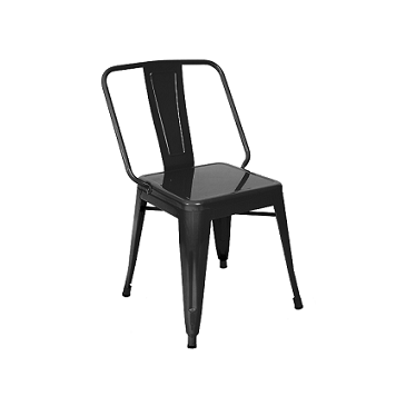 Wide Boy Black Metal Finish Industrial Side Chair