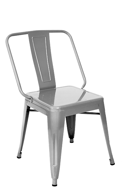 Wide Boy Clear Metal Finish Industrial Side Chair