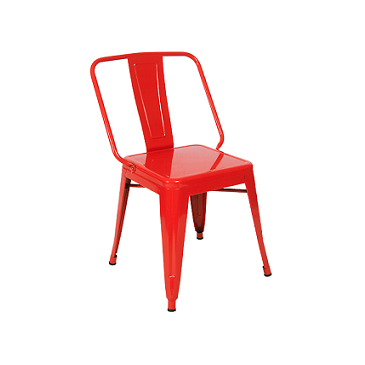 Wide Boy Red Metal Finish Industrial Side Chair