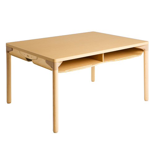 Willowbrook Adjustable Four Person School Desk Extra Storage Natural Wood Finish