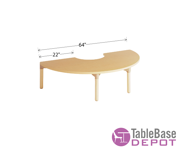 Willowbrook Adjustable Half Circle Classroom Table Natural Wood Finish