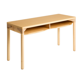 Willowbrook Adjustable School Double Desk Extra Storage Natural Wood Finish