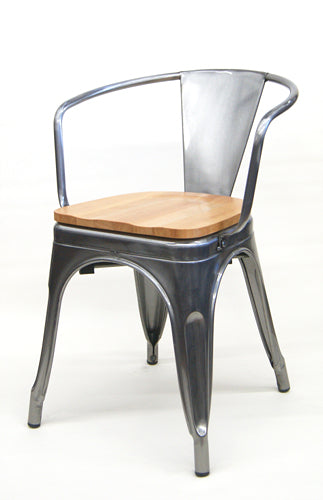 Industrial Arm Chair Tolix Pewter Glossy