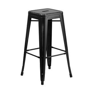 Worn Black Tolix Bar Stool