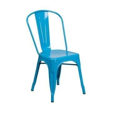 Dodger Blue Finish Tolix Chair Galvanized in-Outdoor Use