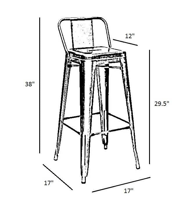 Clear Gun Metal Tolix Style Low Back Bar Stool