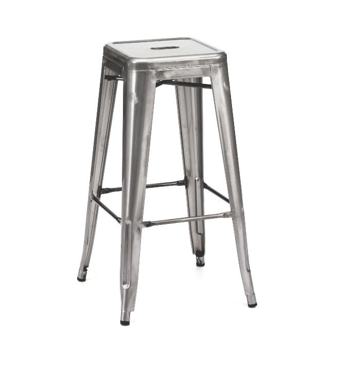 Clear Gun Metal Finish Tolex Style Bar Stool