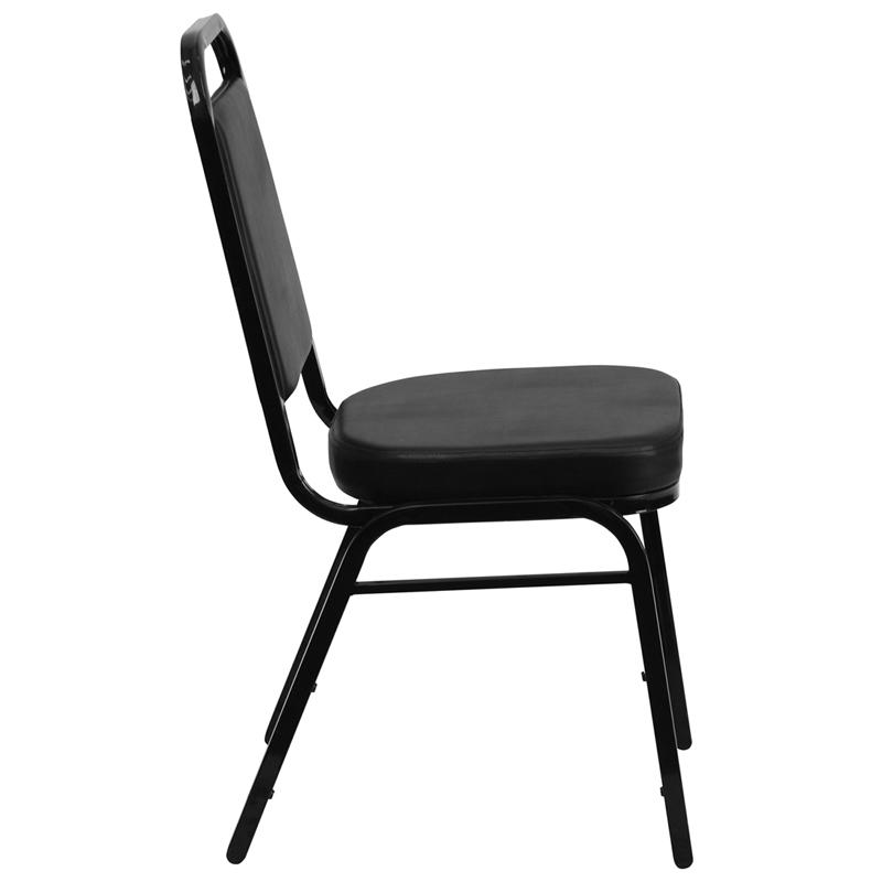 TBD 1005 Club Series Trapezoidal Back Stacking Banquet Chair with Black Vinyl and 2.5'' Thick Seat - Black Frame
