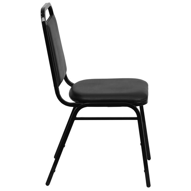 TBD 1001 Club series trapezoidal back stacking banquet chair with black vinyl and 1.5'' thick seat - black frame