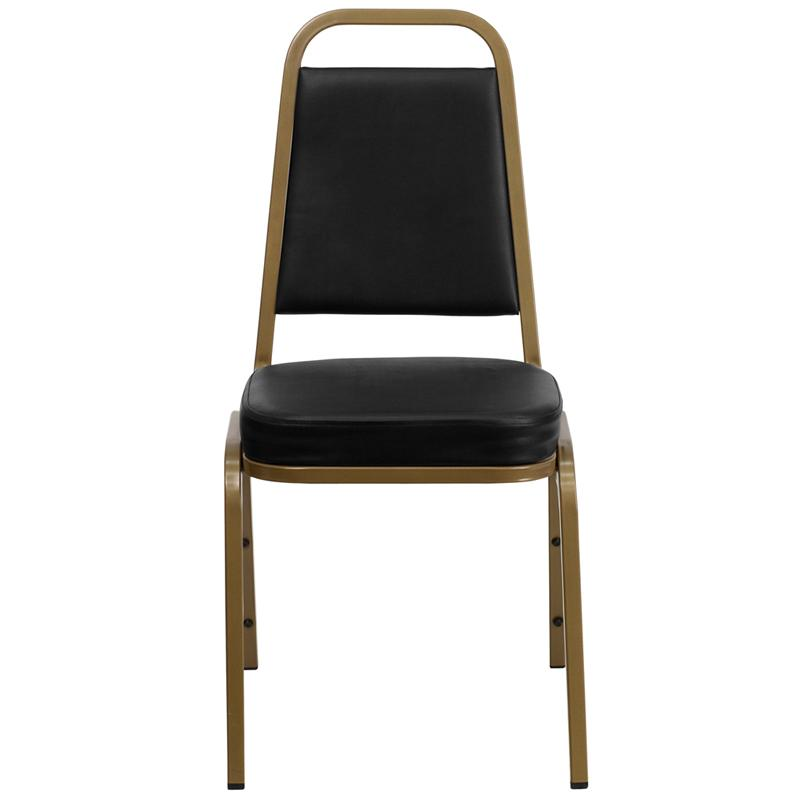 TBD 1010 Club Series Trapezoidal Back Stacking Banquet Chair with Black Vinyl and 2.5'' Thick Seat - Gold Frame