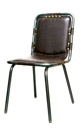 Industrial Steel Chair Upholstered Brown Vinyl