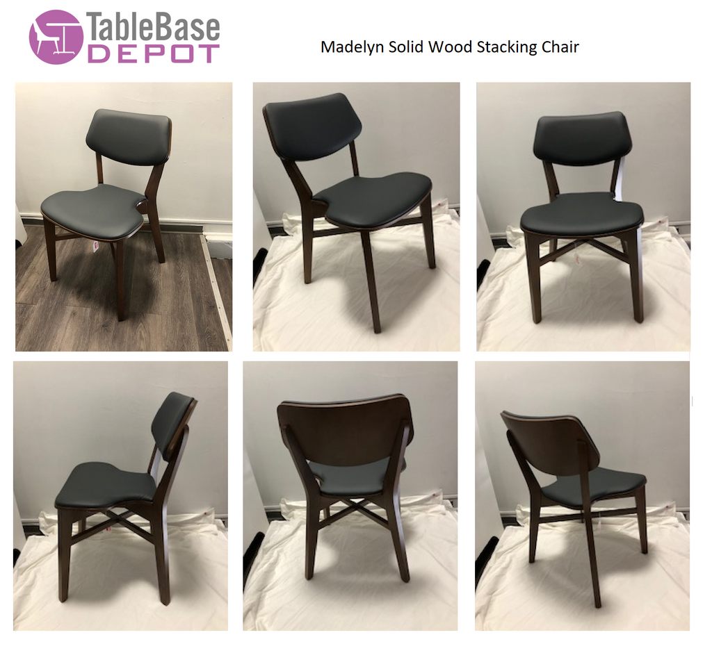 Exclusive Madelyn Solid Wood Stacking Chair Fully Custom Upholstered