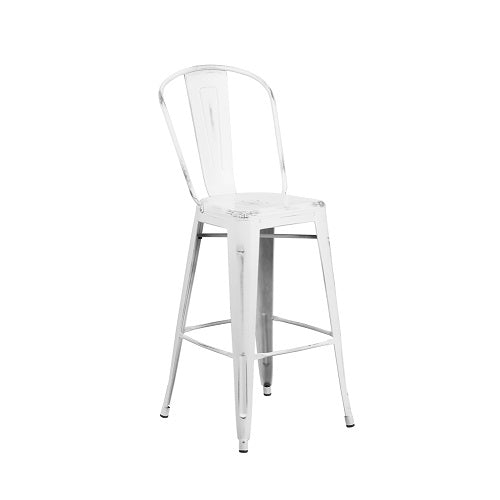 Swell White Antique Weathered Tolix Bar Stool High Back Large Seat Theyellowbook Wood Chair Design Ideas Theyellowbookinfo