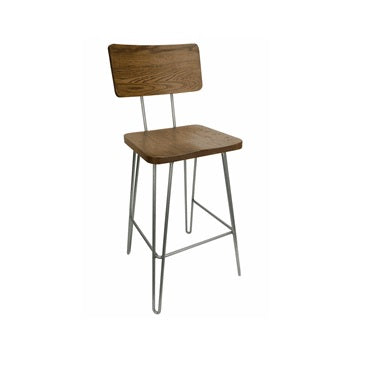 Arianna Industrial Paper Clip Leg Chair Wood Seat and Back