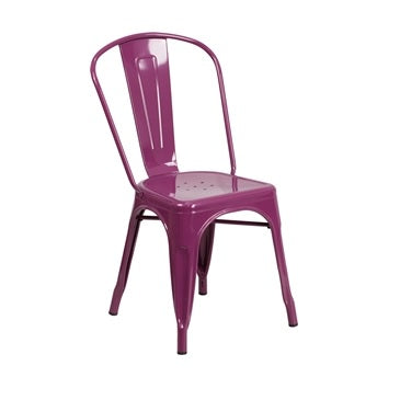 Grape Purple Finish Tolix Chair Galvanized in-Outdoor Use