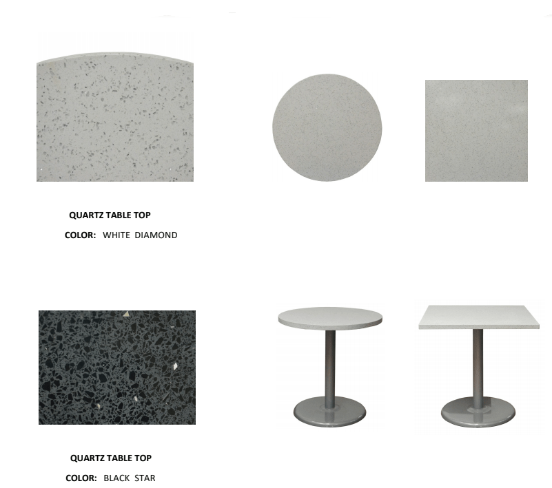 Zirconia Quartz Restaurant Table Tops In-Outdoor Use