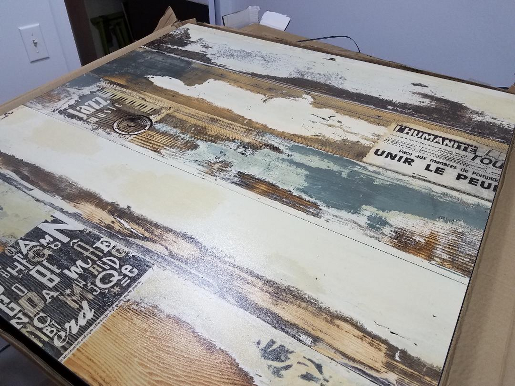 Distressed Scroll Printed Table Top