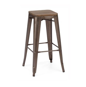 Rusted Finish Tolix Bar Stool Wood Seat