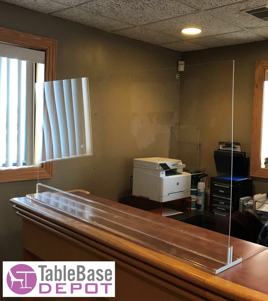 T Base Free Standing Protective Germ Shield For Table Tops Counter Tops And Desks Custom Sizes
