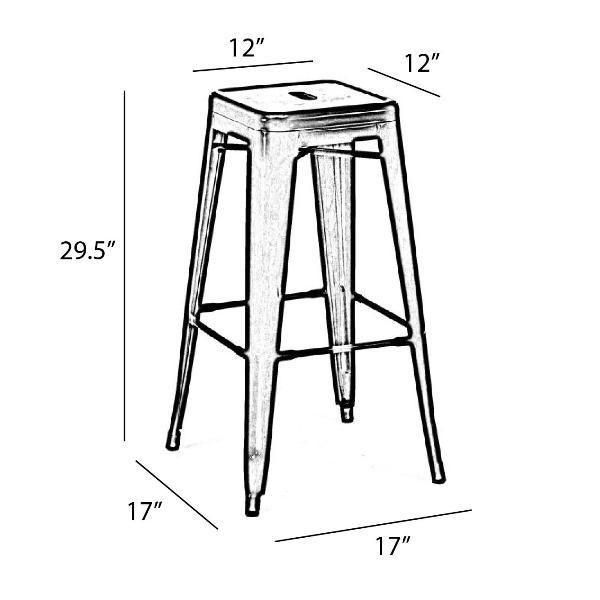 Raven Black Tolix Bar Stool