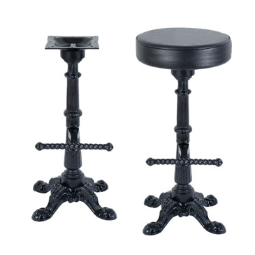 Victorian Cross Black Swivel Bar Stool Base With Foot Peg