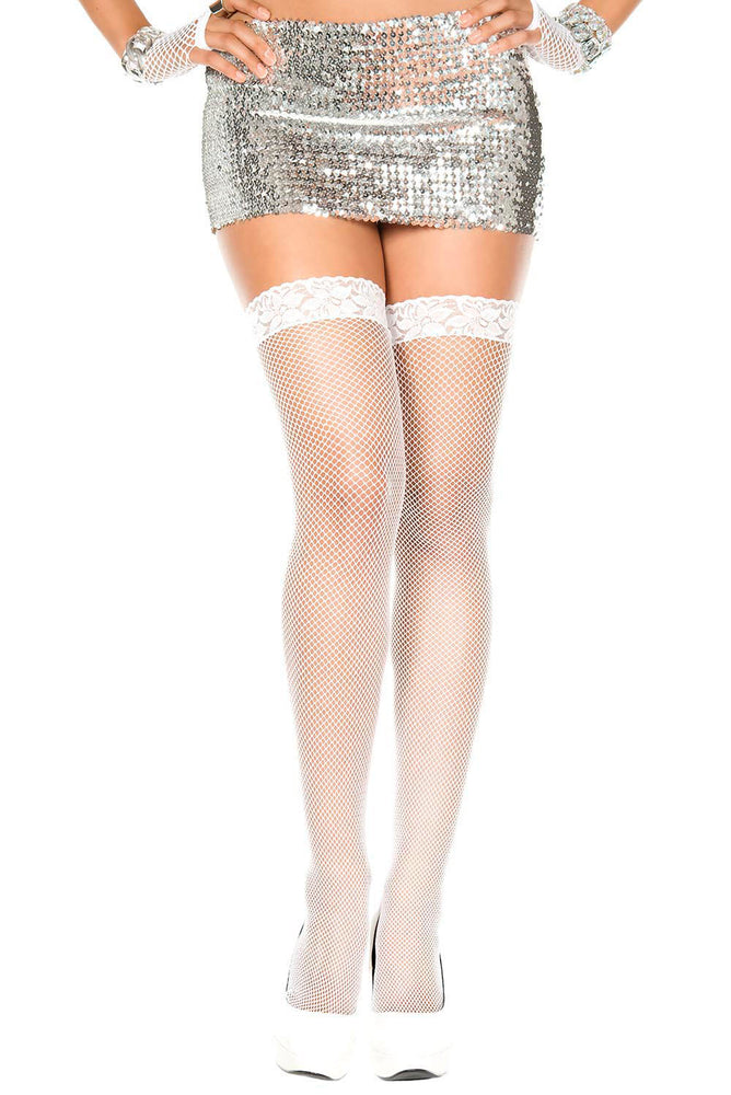 Lace Top Fishnet Thigh Hi - One Size - White ML-4905-WHT