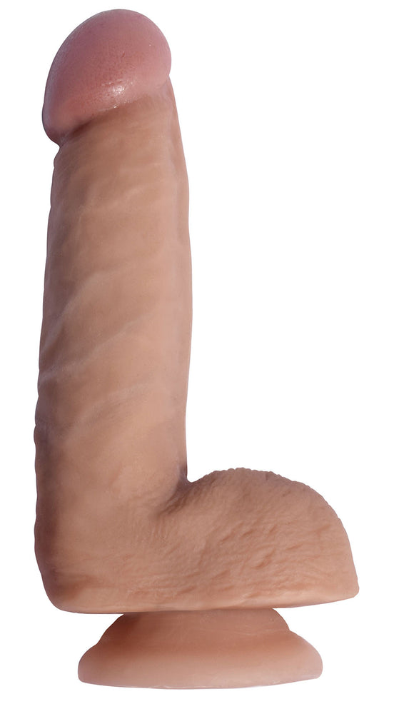 Realistic light brown skin toned cock and balls with suction cup base