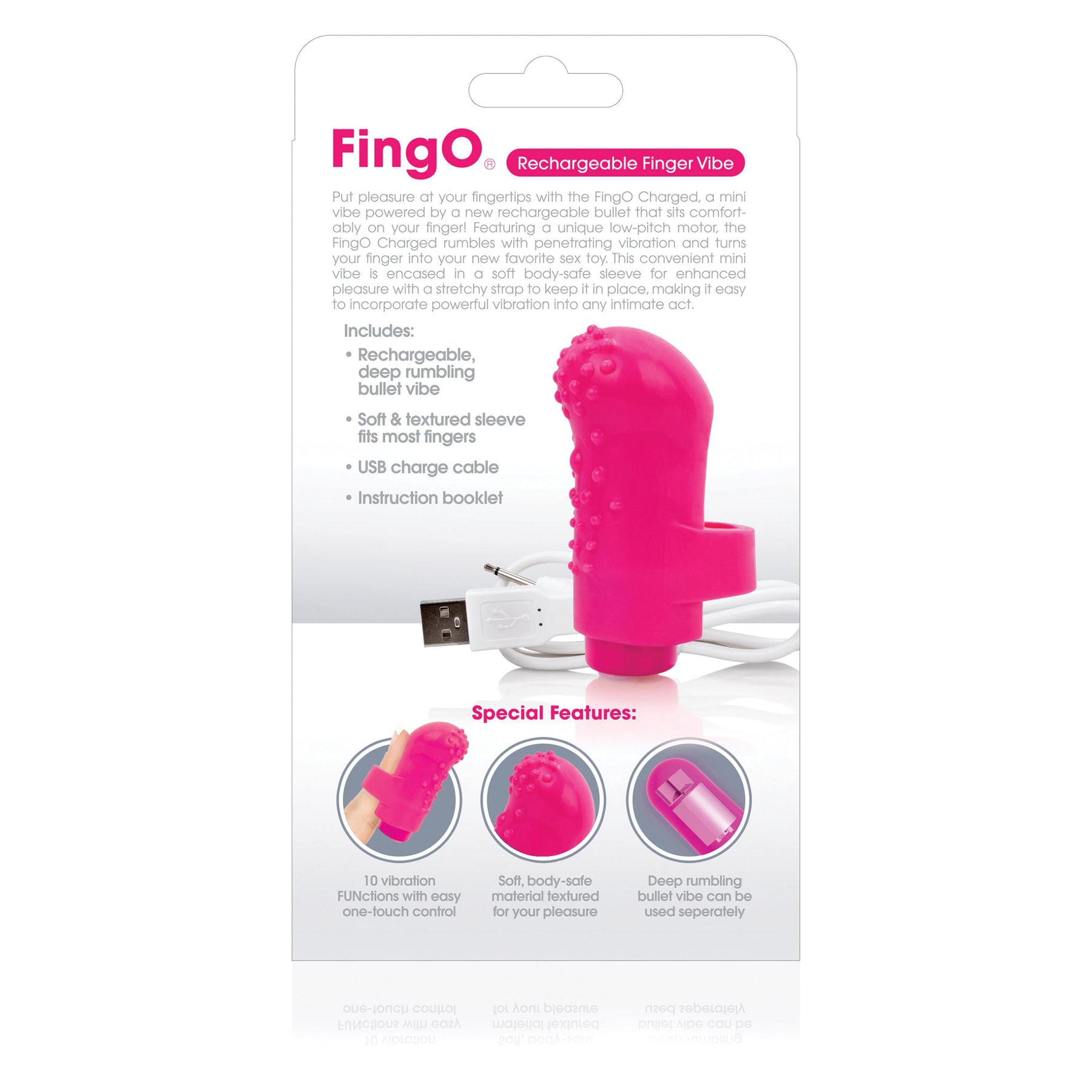 Charged Fingo Rechargeable Finger Vibe - Pink