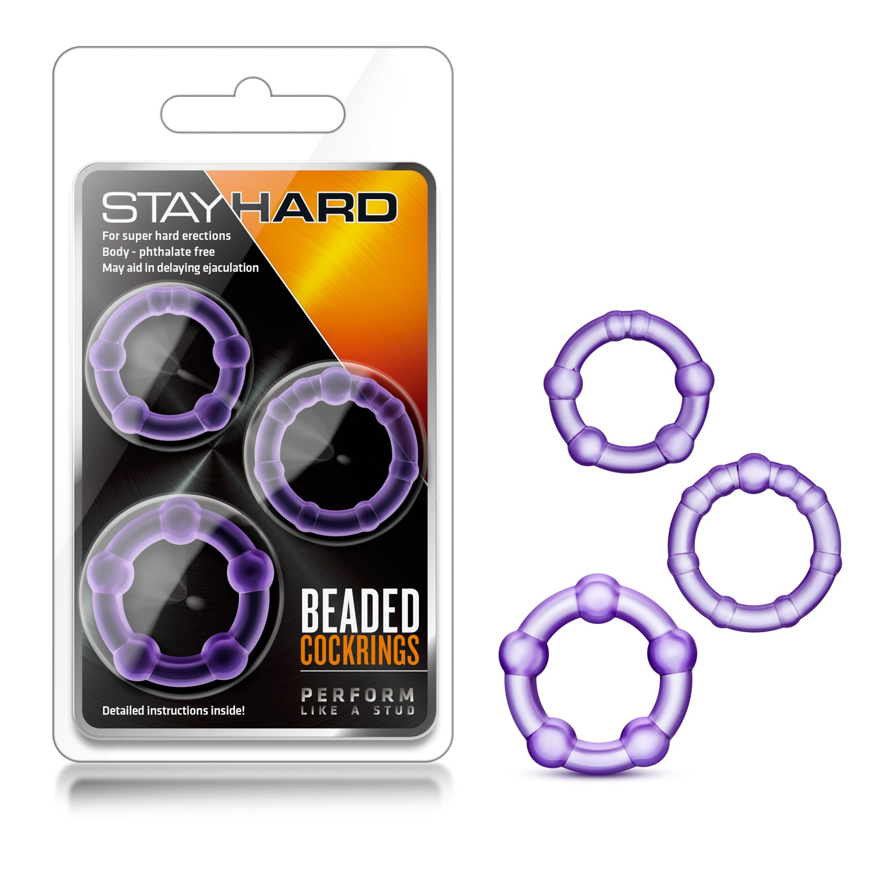 Stay Hard Beaded Cockrings - 3 Pack - Purple