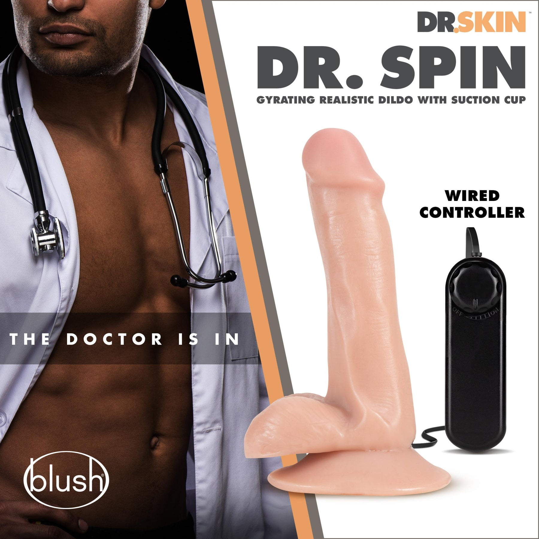 Dr. Skin - Dr. Spin - 6 Inch Gyrating Realistic Dildo - Vanilla