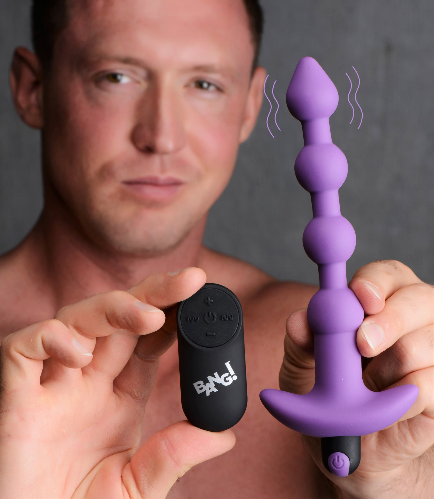 Bang - Vibrating Silicone Anal Beads and Remote Control - Purple