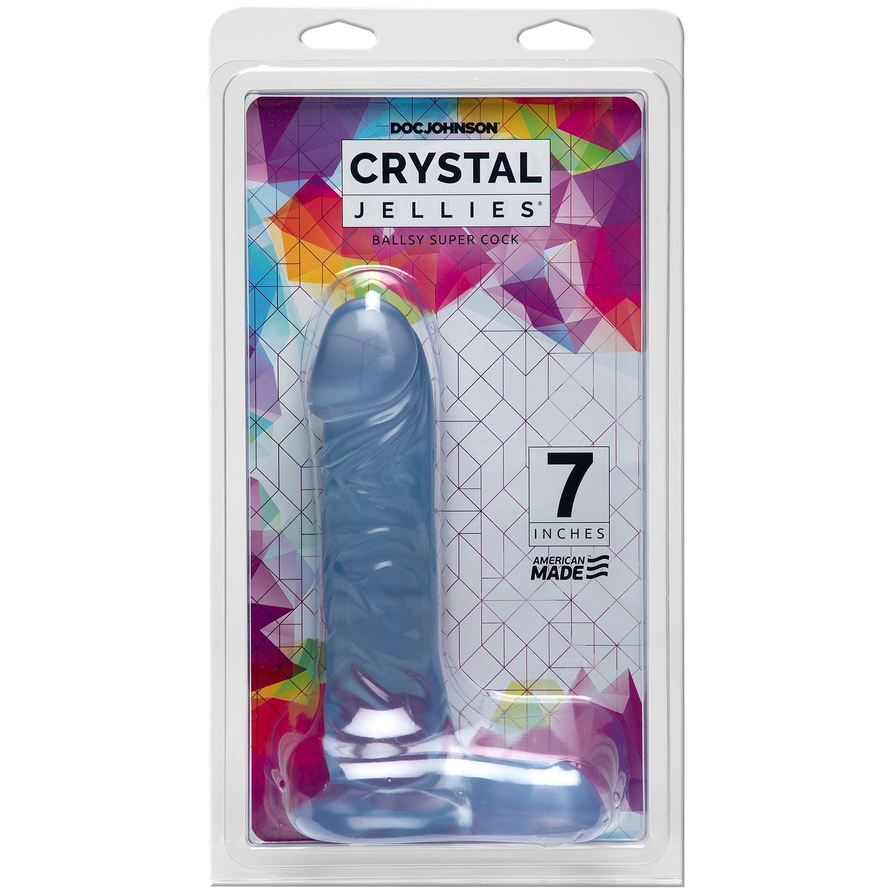 Crystal Jellies 7 Inch Ballsy Supercock - Clear