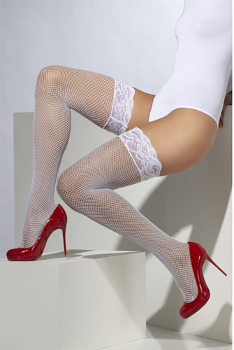 Fishnet Hold Ups - White