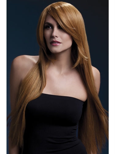 Long, straight auburn wig with bangs naughty costume