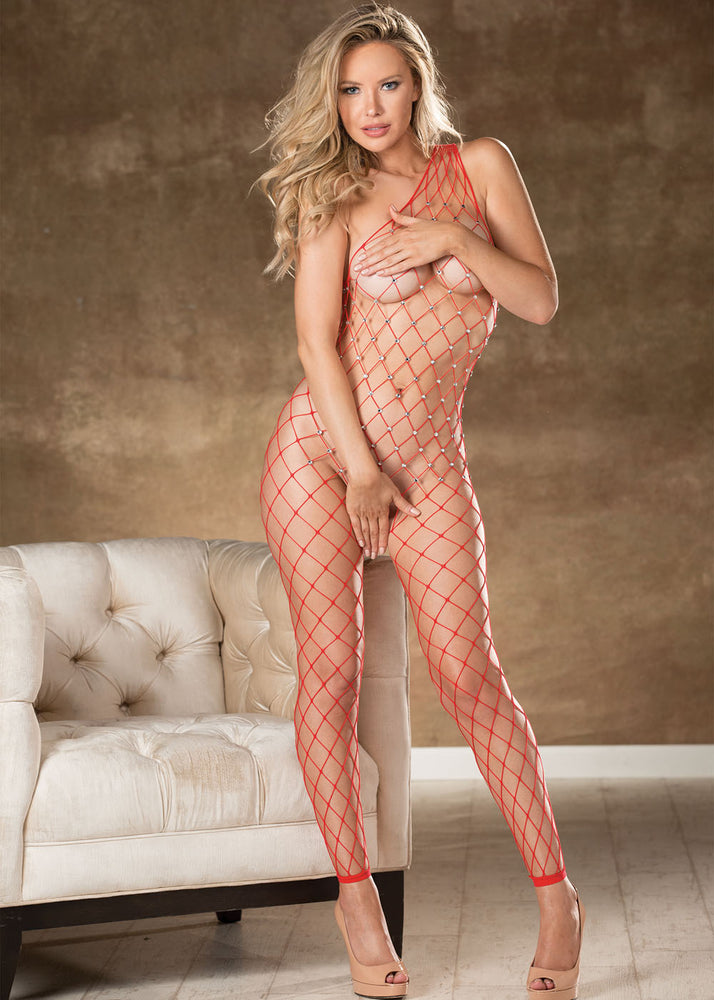 Fishnet Bodystocking With Stones - One Size - Red