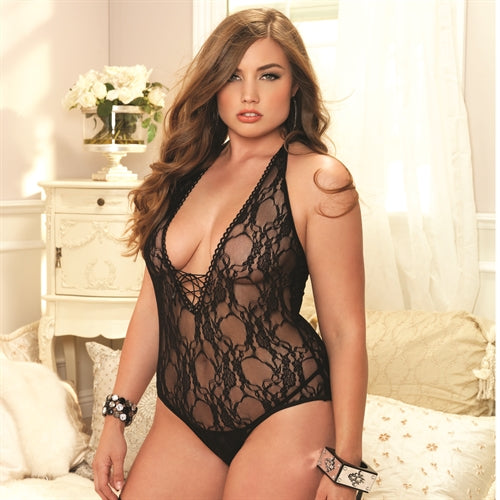 Floral Lace Deep-v Teddy With Stockings - Queen Size - Black